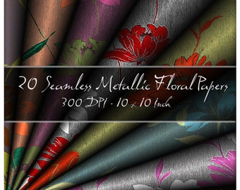 20 Seamless Floral Textured Effect Patterned Digital Papers. 10 Inch 300 DPI