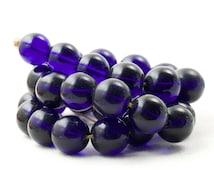 Vintage African Glass Bead Cobalt Blue Dark Blue 15mm Beads1960s Glass Beads 5 Beads