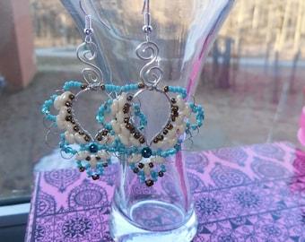 Wire Wrapped Seed Bead Heart Earrings