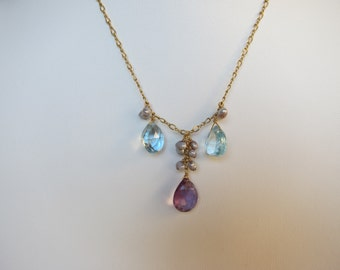 Purple Amethyst Pendant, Blue Topaz, Pearl Handmade Necklace with 14K Gold Filled Chain