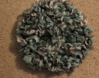 Ruffled Knit Fabric Scarf Shades of Gray Green Black Animal Print