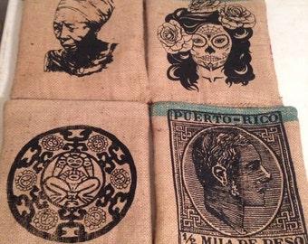 burlap hip bags