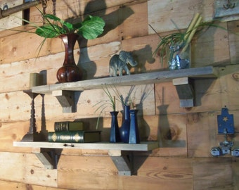 Two Reclaimed Wood shelves & brackets-rustic, handmade, mantel-piece style