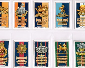 Complete British Cigarette Card Set of 1939. British Army Badges (Cap Badges) by Gallaher Cigarettes. Super Condition.