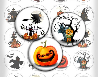 Halloween Bottle cap images 1.5 inch 1 inch printable images for Pendants Scrapbooking Digital Collage Sheet - Instant Download