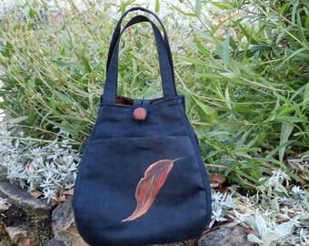 Black fabric handbag . Small handbag. . Handpainted gum leaves. Easy care. Handmade. Evening bag.