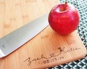 Bamboo Wood-Burned Cutting Board: Custom Design for Wedding Gift
