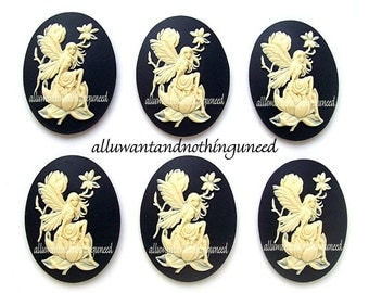 6 Fairy and Magnolia Ivory Color on Black 40mm x 30mm Resin CAMEOS LOT for Making Costume Jewelry