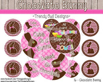 "Chocolate Bunny -Easter Bottle Cap Images - INSTANT DOWNLOAD - 1"" Bottle Cap Images 4x6 - 16"