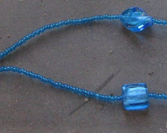 beaded necklace and murrine blue
