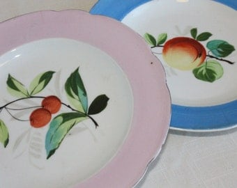 Handpainted Fruit Plates – Peach and Cherry - Pink and Blue Pastel