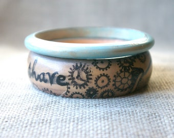 Bangle Bracelet Set- Retro Jewelry - Vintage Inspired Jewelry - Mustache Jewelry - Mustache Bracelet