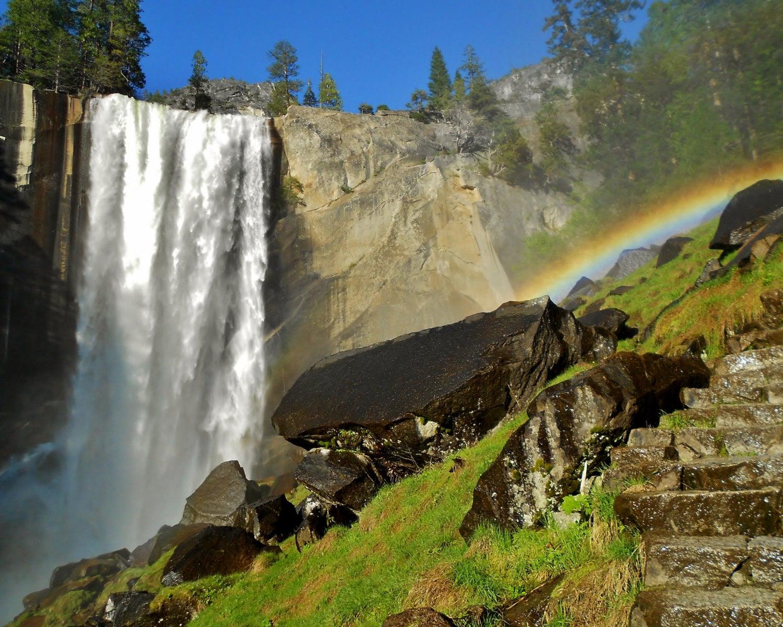 Yosemite National Park Waterfall - Vernal Fall Stock Photo ...   Yosemite Vernal Falls Rainbow