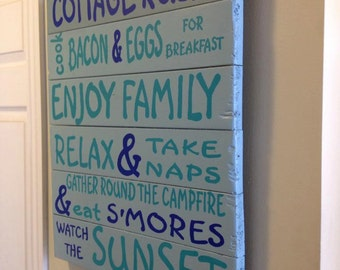 "Reclaimed Wood ""Cottage Rules"" Sign"