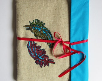 Hand embroidered textile ipad cover