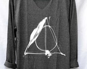 Deathly Hallows Normal Shirt Harry Potter Shirts V-Neck Long Sleeve Unisex Size S M L