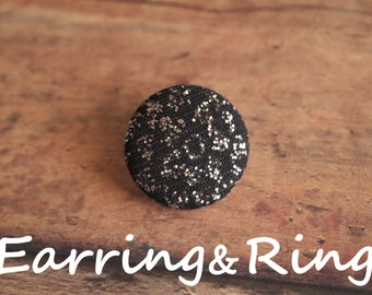 Black and silver glitter fabric covered button earrings, fabric covered button clip on earrings, fabric covered button ring