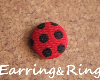 Red and black polka dot fabric covered button earrings, fabric covered button clip on earrings, fabric covered button ring
