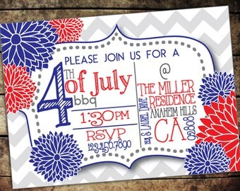 Fourth Of July Custom Printable Invitation or E-Vite