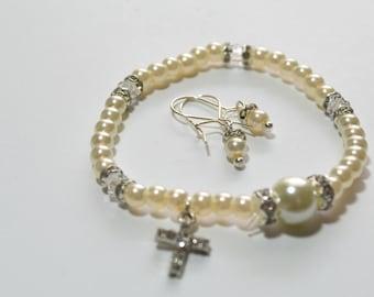 Flower Girl Gift, Jewelry Set, Swarovski Bracelet, Sterling Silver Earrings, Communion, Baptism Gifts, Preschool Graduation