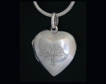 Tree of Life Necklace: Heart Shape Locket, Sterling Silver Tree of Life Pendant with Tree of Life Stamped on the Front - Opening Locket 029