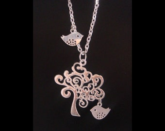Tree of Life Necklace with Celtic Antique Silver Tree of Life Pendant and Bird Charms on Silver Chain - Celtic Tree of Life Necklace 024