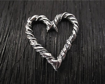 Twisted, Artisan, Sterling Silver, Heart Charm