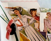 40s Millinery Fashion Mail Art, Vintage Fashion ephemera, Vintage Hat Mail Art, vintage hat illustration, fashion illustration, hat mail art