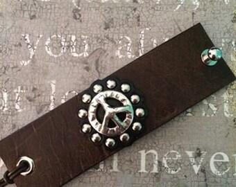 Peace Sign Cuff Bracelet