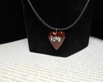 """Heart Collection: Handcrafted Burl Wood Pendant Necklace - """"Love in your heart"""""""