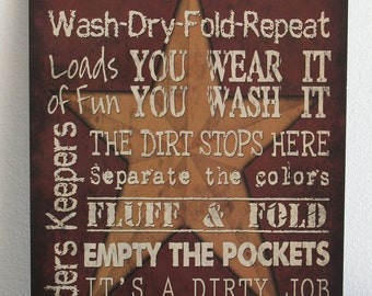 LAUNDRY ROOM Rules 12x18 Vintage Primitive Wood Sign Home
