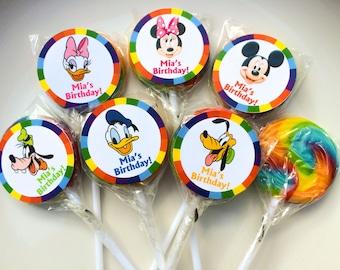 Mickey Minnie Pluto Goofy Donald Duck and Daisy Duck Personalized Mini Lollipops
