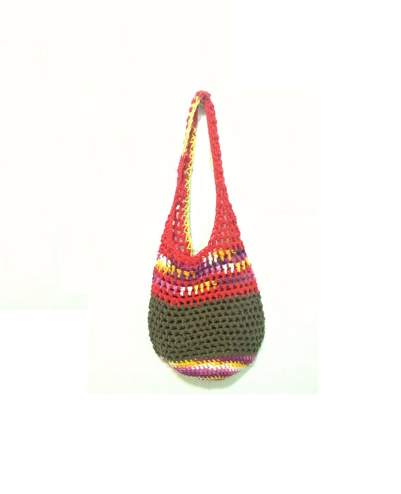 Crochet Boho Bag : Crochet Boho Bag, Boho Tote Bag, Spring Boho Market Bag, Striped ...