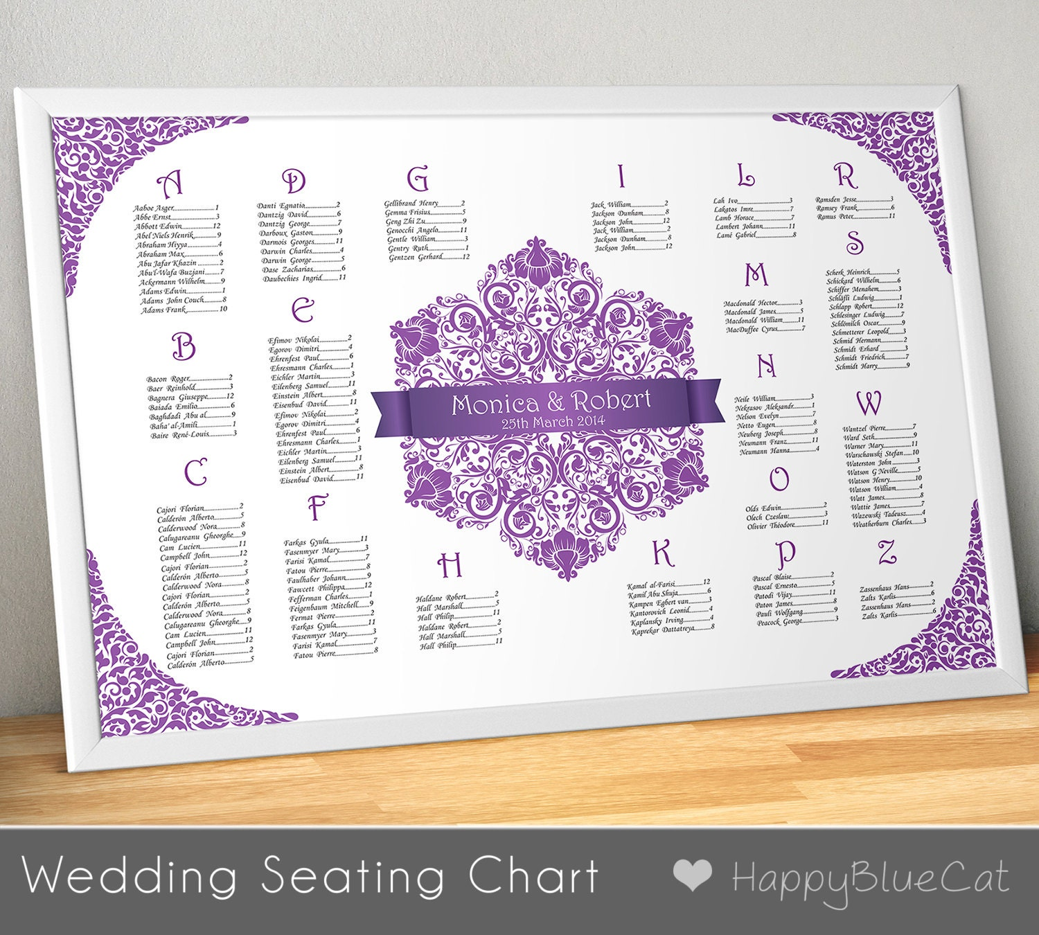 Printable Seating Chart For Wedding Reception: Wedding Seating Chart FREE RUSH SERVICE Floral Purple