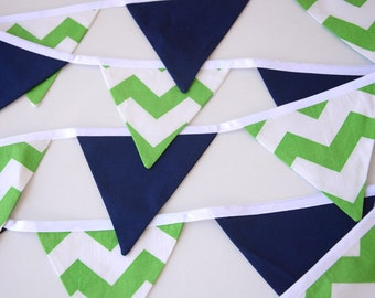Green and navy nursery, Baby shower decor, chevron, christening decoration, fabric pennant banner, photo prop, bunting flags, decoration