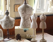 Mannequin Jewelry Display Stand, Wood and Fabric, Tabletop Home Decor- (ETA-MX05)