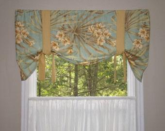 Window Valance, Tie Up Valance, Window Treatment, Magnolia homes, Palm Leaf Valance, Floral Valance, Tropical Valance, Beach House Valance