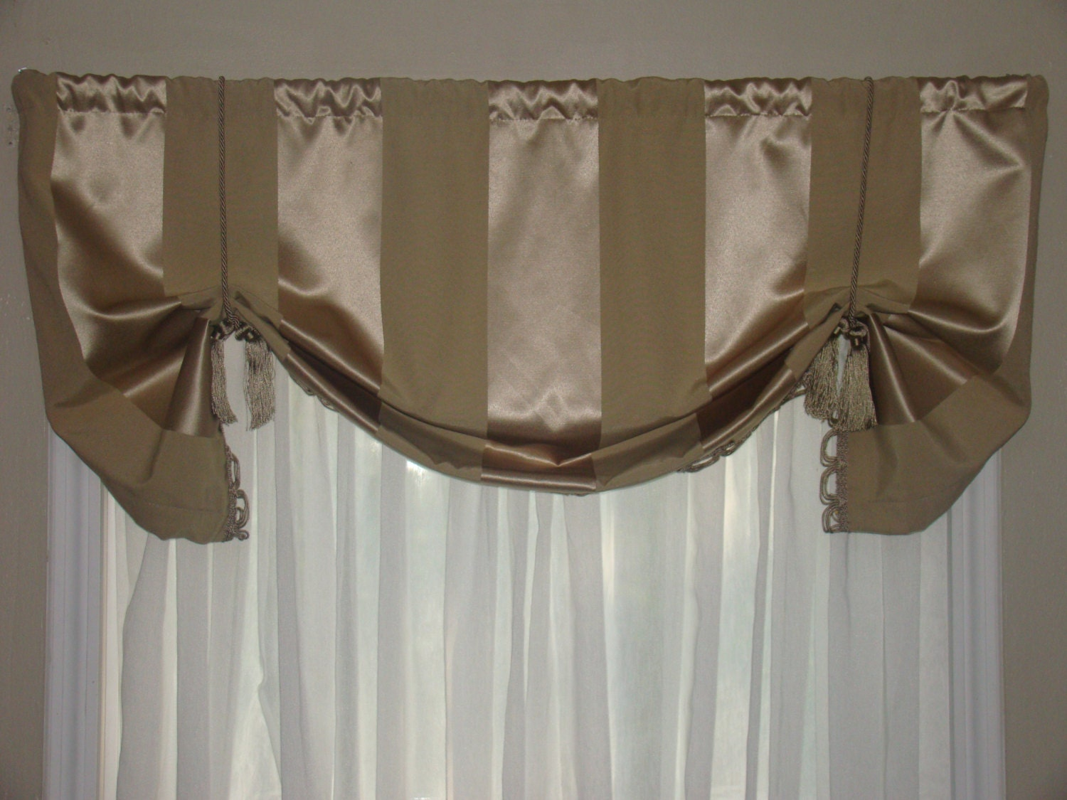 Window Valance Tie Up Valance Tan Loop Fringe By Bandedpillows