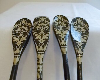 Wooden spoons, painted wooden spoons, decorated wooden spoons, kitchen utensils, kitchen, housewares, wooden decorated spoons