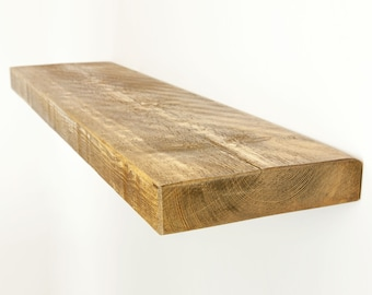 Floating Shelf made from Chunky Solid Wood in our Rustic Range with a Choice of Different Wax Finishes and Sizes 9x2