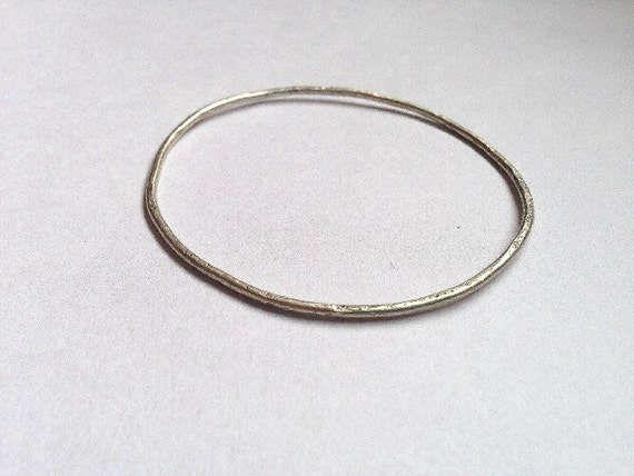 Silver Stacking Bangle - Hammered Texture