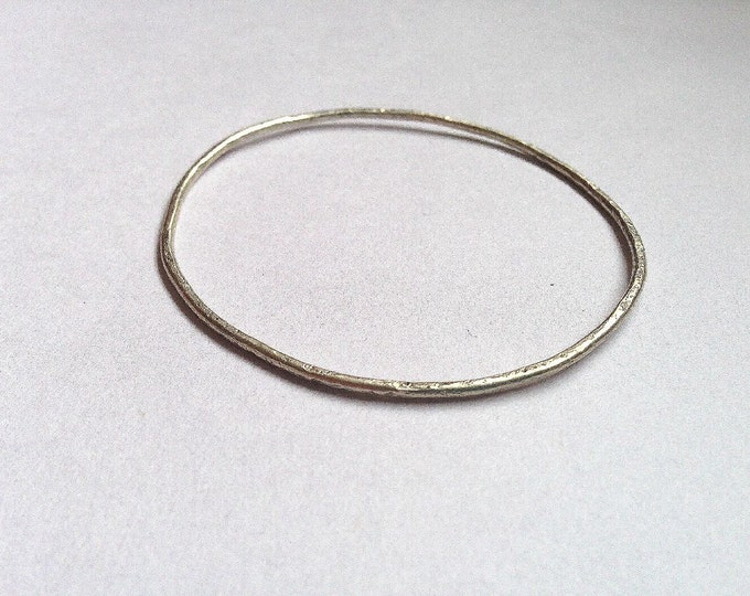 Silver Stacking Bangle - Delicate - Simple - Plain - Thin - Dainty - Sterling - Recycled -Organic Texture