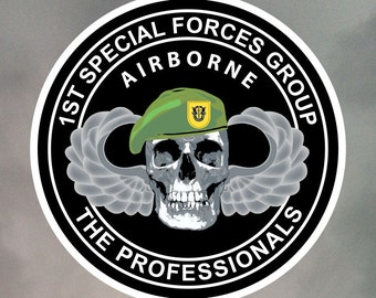1st Special Forces Group Skull Stickers - Eight 2 Inch Stickers - Weatherproof Vinyl with Laminate Overlay 2-0014