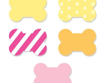 Small Bone-Shaped Cut-Outs - Pink Girl Puppy Party Supplies - 20 pc. Set