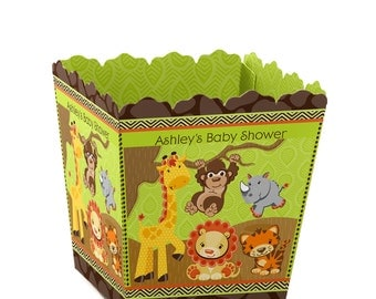 Safari Jungle Custom Small Candy Boxes - Personalized Baby Shower and Birthday Party Favor Boxes - Set of 12