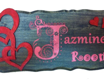 "Wood sign personalized rustic rectangle bass wood 14""x 6"""