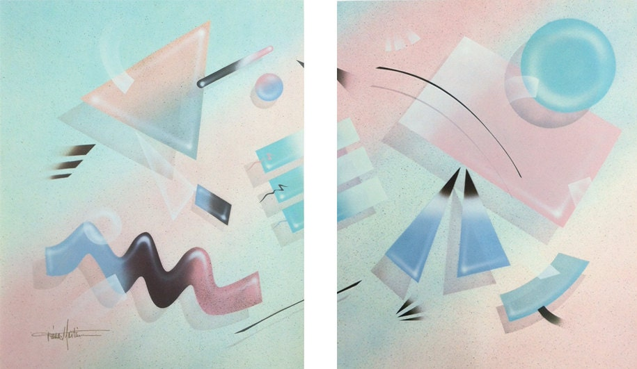 Funky 80s Pastel Abstract Geometric Art Poster Prints Set Of 2