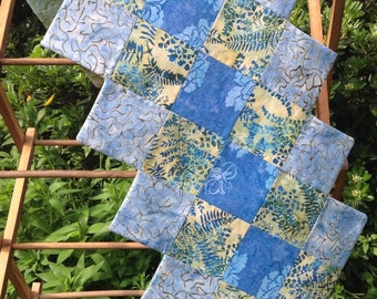 Table Runner, Spring, Botanical,  Blues and Pale Yellow and  Botanical  Batiks