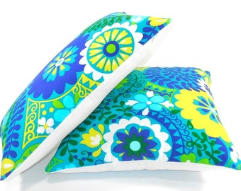 Free shipping/TURQUOISE PILLOW COVER 18x18 inches-Floral Blue-Yellow-Home decor fabric-Throw pillow Decorative pillow- Handmade-