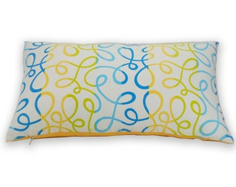 Free shipping/BLUE PILLOW Cover LUMBAR 12x 20 inches-Swirl design- Home décor-Decorative pillow-Throw pillow- Accent Pillow-Handmade-Cotton